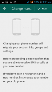 select change my number option for unblock myself