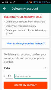 delete my account and unblock myself on whatsapp