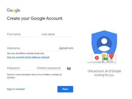 how to create google account in hindi