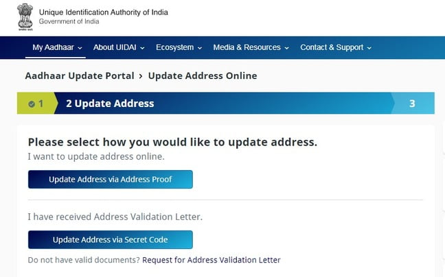 pdate address in aadhar card via address proof